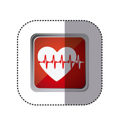 Red emblem heartbeat icon vector