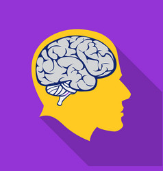 Brain icon flat single education icon from the vector