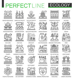Ecology technology outline concept symbols vector