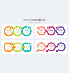 3 steps timeline infographic template with arrows vector