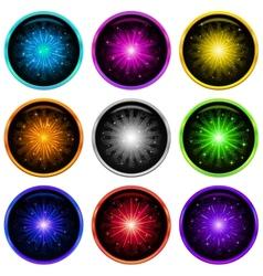 Firework set buttons vector image