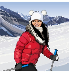 Girl with ski poles in snowy mountains vector