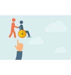 Hand pointing to a man push in wheelchair vector image