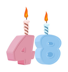 48 years birthday number with festive candle for vector