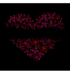 Beautiful heart from red butterflies vector