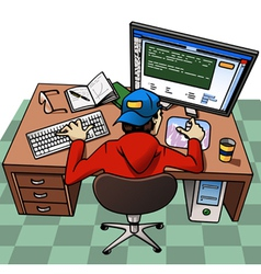 Young man working at computer vector