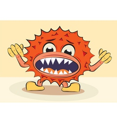 Cartoon funny angry bacillus vector