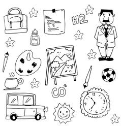 Collection stock school doodles vector