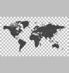 Blank black world map on isolated background vector
