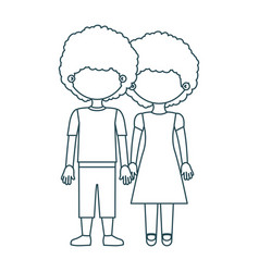 Blue contour faceless curly couple girl with dress vector