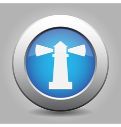 Blue metallic button white lighthouse icon vector