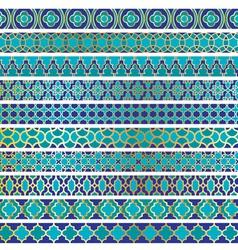 Blue moroccan borders vector