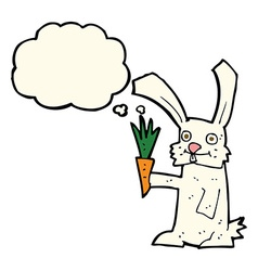 Cartoon rabbit with carrot with thought bubble vector