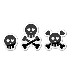 Cartoon skull with bones and hearts icon vector