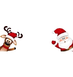 Christmas background Funny Santa and Reindeer vector image vector image