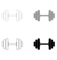 dumbbell the black and grey color set icon vector image vector image