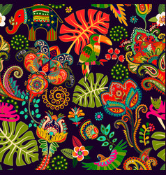 Floral wallpaper hand drawn pattern with vector