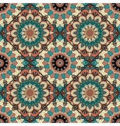 Flower pattern boho brown blue intricate vector