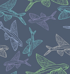 Flying Fish Seamless Pattern vector image vector image