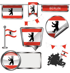 glossy icons with flag of berlin vector image vector image