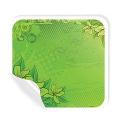 grunge sticker with floral vector image vector image