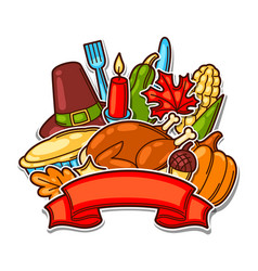 happy thanksgiving day background with holiday vector image vector image