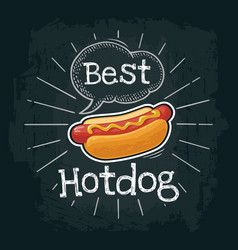 hotdog with mustard flat with vector image