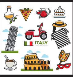 Italian traditional symbols colorful set on vector