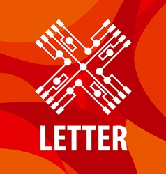 Logo letter x in the form chip on a red background vector