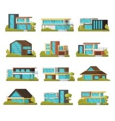 Modern suburban houses collection vector