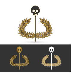 olive branch with skull symbol of greek god hades vector image