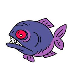 Piranha cartoon hand drawn image vector