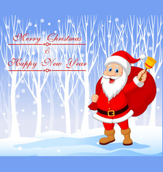 Santa Claus with bell carrying sack with winter vector image vector image
