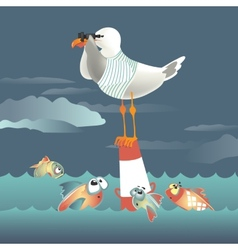 Seagull standing on the buoy and looking through vector image