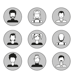 set of male and female face avatars Design vector image