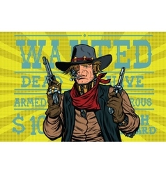 Steampunk robot bandit wild West wanted vector image vector image