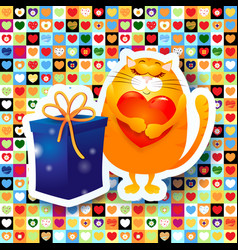 sweet kitten and gift vector image