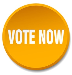 Vote now orange round flat isolated push button vector
