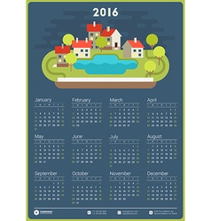 Wall Calendar Poster for 2016 Year Design Print vector image vector image