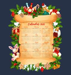 winter holiday 2018 calendar template vector image