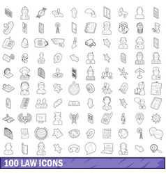 100 law icons set outline style vector