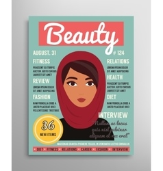 Magazine cover template about beauty fashion and vector
