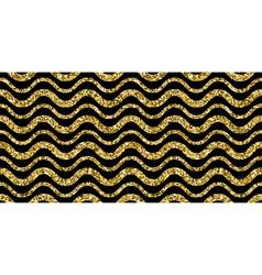 Gold sparkles glitter waves pattern on black vector image