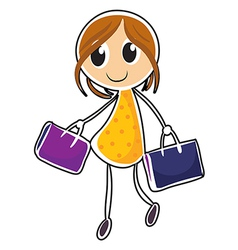 A girl with two bags vector image