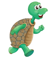 An old turtle running vector image