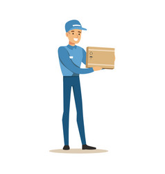 delivery service worker holding small fragile box vector image