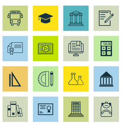 Set of 16 school icons includes e-study vector
