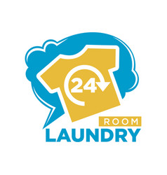24 hours laundry room promotional logotype with t vector