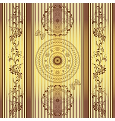 Seamless golden brown striped pattern vector image