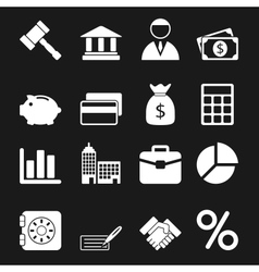 White Business Icons Set vector image